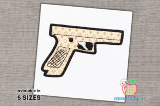Pistol Gun Military Embroidery Design By embroiderydesigns101