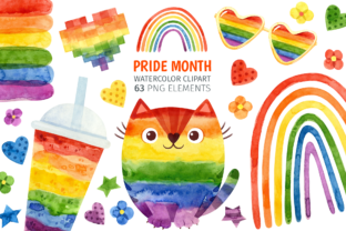 Print on Demand: Pride Month, Rainbow Watercolor Clipart Graphic Illustrations By ValinMalin