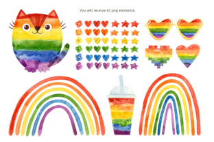 Print on Demand: Pride Month, Rainbow Watercolor Clipart Graphic Illustrations By ValinMalin 2