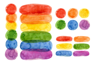 Print on Demand: Pride Month, Rainbow Watercolor Clipart Graphic Illustrations By ValinMalin 3