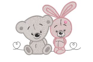 Print on Demand: Teddy Bear and Bunny Animals Embroidery Design By ArtEMByNatali