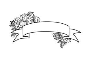 Blank Banner with Flowers Designs & Drawings Craft Cut File By Creative Fabrica Crafts