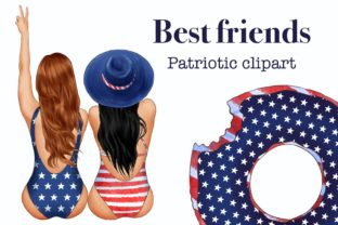 Best Friends Patriotic Clipart, 4th July Graphic Illustrations By Arte de Catrin 1