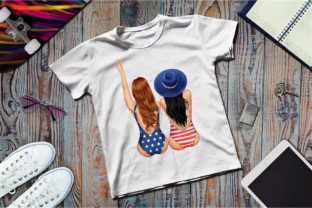 Best Friends Patriotic Clipart, 4th July Graphic Illustrations By Arte de Catrin 2