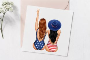 Best Friends Patriotic Clipart, 4th July Graphic Illustrations By Arte de Catrin 4