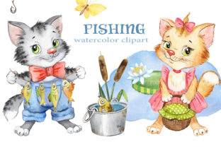 Cat Fisherman Clipart.Cat, Kitty, Fish Graphic Add-ons By EvArtPrint