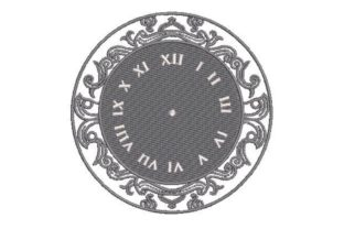 Clock Face in Roman Numeral Bedroom Embroidery Design By Embroidery Designs