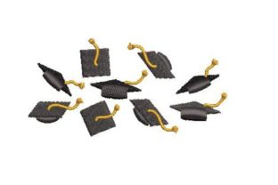 Falling Graduation Capes Graduation Embroidery Design By Embroidery Designs