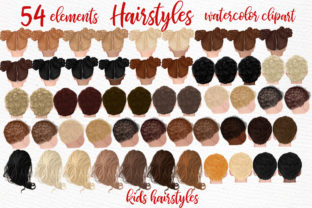 Print on Demand: Hairstyles Clipart Kids Hairstyles Graphic Illustrations By LeCoqDesign