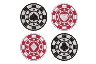 Poker Chips Games & Leisure Embroidery Design By Embroidery Designs
