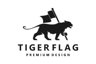 Silhouette of Tiger Carrying a Flag Logo Graphic Logos By Typescroll