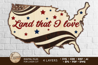 Print on Demand: USA MAP 4th July Multilayer Cut Files Graphic 3D SVG By LaserCutano