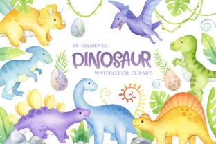 Watercolor Cute Dinosaur Clipart Graphic Illustrations By SipkaDesigns 1