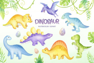 Watercolor Cute Dinosaur Clipart Graphic Illustrations By SipkaDesigns 2