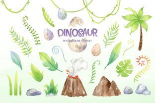 Watercolor Cute Dinosaur Clipart Graphic Illustrations By SipkaDesigns 3