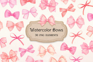 Watercolor Pink Bows Clipart Graphic Illustrations By SipkaDesigns