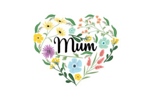 Floral Mum Heart Mother's Day Craft Cut File By Creative Fabrica Crafts