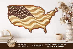 Print on Demand: 3D USA Map 4th of JULY Cut Files Graphic 3D SVG By LaserCutano