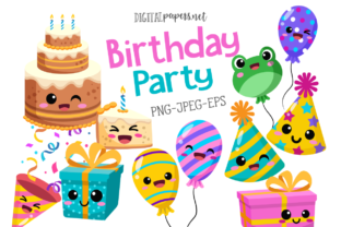 Print on Demand: Birthday Party Clipart Set Graphic Illustrations By DigitalPapers