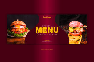 Print on Demand: Food Menu Facebook Cover Banner Template Graphic Web Templates By grgroup03