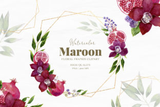Maroon Frame Watercolor Collection Graphic Illustrations By SipkaDesigns