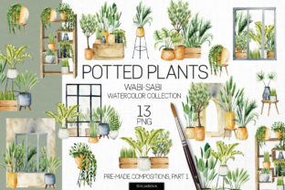 Print on Demand: Potted Plants, Part 1. Interior Clipart. Graphic Illustrations By HappyWatercolorShop