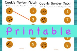 Printable Cookie Number Match, PDF File. Graphic K By AfifShop