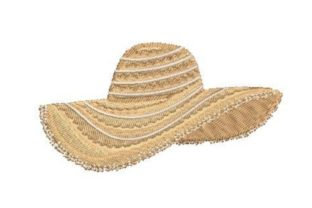 Straw Beach Hat Beach & Nautical Embroidery Design By Embroidery Designs