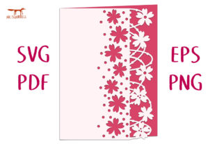 Windswept Blossom Lace Edged Card SVG Graphic 3D SVG By Nic Squirrell
