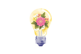 Watercolor Lightbulb with Flowers Designs & Drawings Craft Cut File By Creative Fabrica Crafts