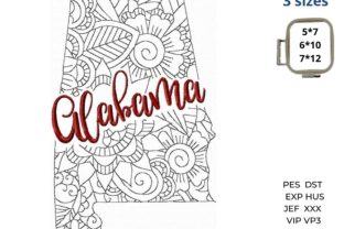 Alabama State North America Embroidery Design By LaceArtDesigns