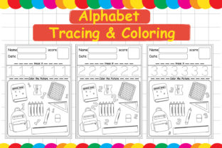 Alphabet Tracing & Coloring Graphic Teaching Materials By Kids Zone