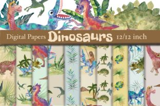Print on Demand: Dinosaurs Watercolor Digital Papers Graphic Patterns By Marine Universe