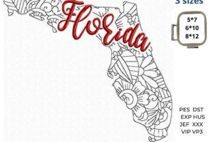Florida State North America Embroidery Design By LaceArtDesigns