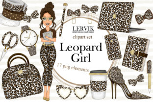 Print on Demand: Girl Planner Clipart Leopard Print Graphic Illustrations By LerVik 1