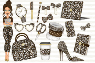 Print on Demand: Girl Planner Clipart Leopard Print Graphic Illustrations By LerVik 2