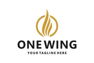 Golden One Wing on the Circle Logo Graphic Logos By Typescroll