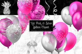 Print on Demand: Hot Pink and Silver Balloons Clipart Graphic Illustrations By Digital Curio