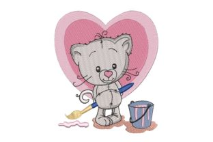 Print on Demand: Kitten Draws a Heart Animals Embroidery Design By ArtEMByNatali