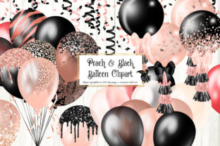 Print on Demand: Peach and Black Balloons Clipart Graphic Illustrations By Digital Curio