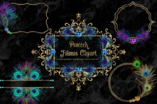 Print on Demand: Peacock Frames Clipart Graphic Illustrations By Digital Curio 1