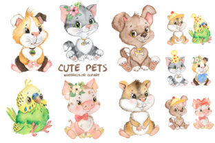 Pets Watercolor Clipart Cute Baby Animal Graphic Add-ons By EvArtPrint 1