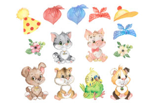 Pets Watercolor Clipart Cute Baby Animal Graphic Add-ons By EvArtPrint 2