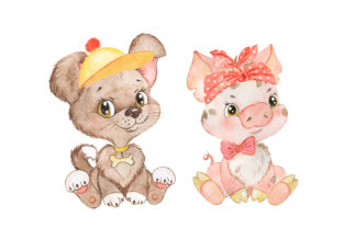 Pets Watercolor Clipart Cute Baby Animal Graphic Add-ons By EvArtPrint 3