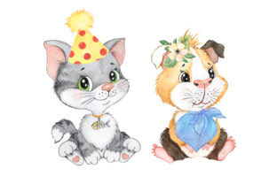 Pets Watercolor Clipart Cute Baby Animal Graphic Add-ons By EvArtPrint 4