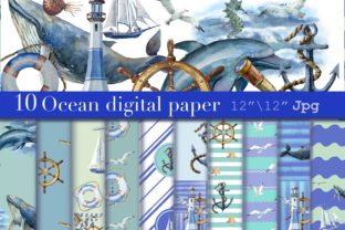 Print on Demand: Sea Watercolor Paper, Nautical Pattern Graphic Patterns By Marine Universe