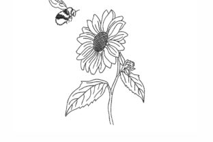 Sunflower Outline Flowers Embroidery Design By SonyaEmbroideryStore