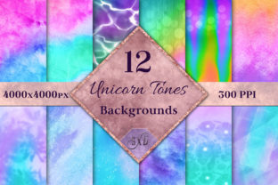 Print on Demand: Unicorn Tones Backgrounds - 12 Image Set Graphic Backgrounds By SapphireXDesigns