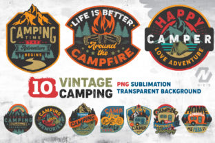 Print on Demand: Vintage Camping Sublimation Bundle Graphic Illustrations By nesdigiart