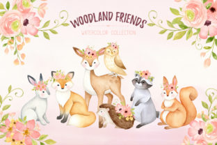 Woodland Animals Watercolor Clipart - 1